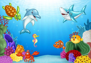 Vector illustration of Cartoon tropical fish Wall Mural Wallpaper - Canvas Art Rocks - 1