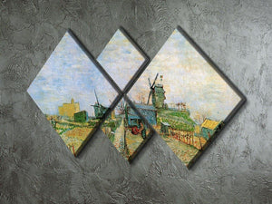 Vegetable Garden in Montmartre by Van Gogh 4 Square Multi Panel Canvas - Canvas Art Rocks - 2