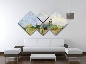 Vegetable Garden in Montmartre by Van Gogh 4 Square Multi Panel Canvas - Canvas Art Rocks - 3