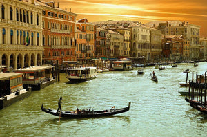 Venice Grand Canal Sunset Wall Mural Wallpaper - Canvas Art Rocks - 1