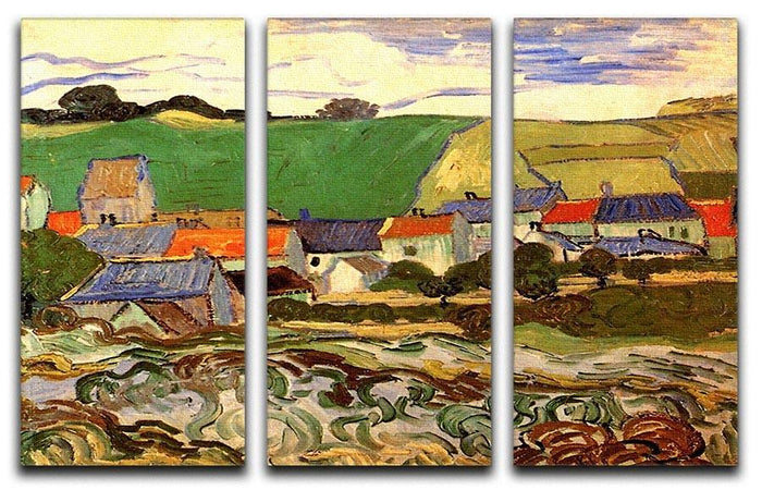 View of Auvers by Van Gogh 3 Split Panel Canvas Print