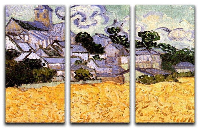 View of Auvers with Church by Van Gogh 3 Split Panel Canvas Print