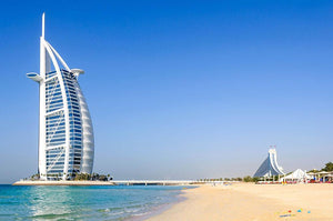 View of Burj Al Arab hotel from the Jumeirah beach Wall Mural Wallpaper - Canvas Art Rocks - 1