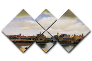 View of Delft by Vermeer 4 Square Multi Panel Canvas - Canvas Art Rocks - 1