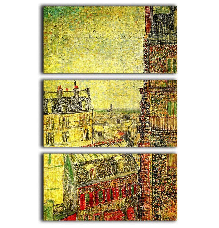 View of Paris from Vincent s Room in the Rue Lepic by Van Gogh 3 Split Panel Canvas Print