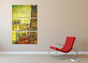 View of Paris from Vincent s Room in the Rue Lepic by Van Gogh 3 Split Panel Canvas Print - Canvas Art Rocks - 2