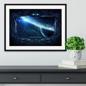 View of outer space from the window of a space station Framed Print - Canvas Art Rocks - 1