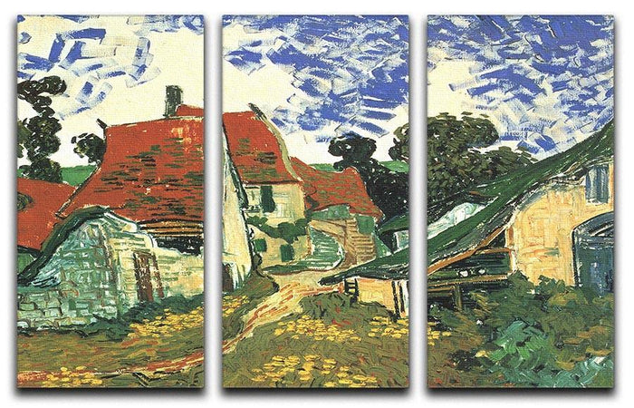 Villages Street in Auvers by Van Gogh 3 Split Panel Canvas Print