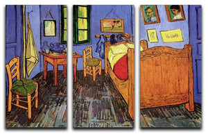 Vincent's Bedroom in Arles by Van Gogh 3 Split Panel Canvas Print - Canvas Art Rocks - 4