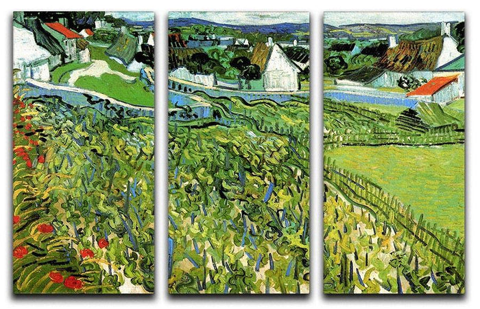 Vineyards with a View of Auvers by Van Gogh 3 Split Panel Canvas Print