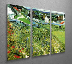 Vineyards with a View of Auvers by Van Gogh 3 Split Panel Canvas Print - Canvas Art Rocks - 4