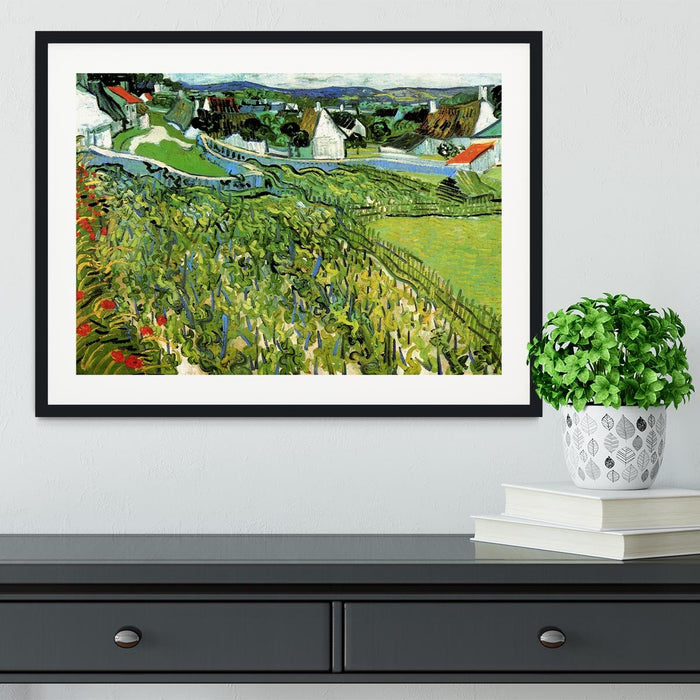 Vineyards with a View of Auvers by Van Gogh Framed Print