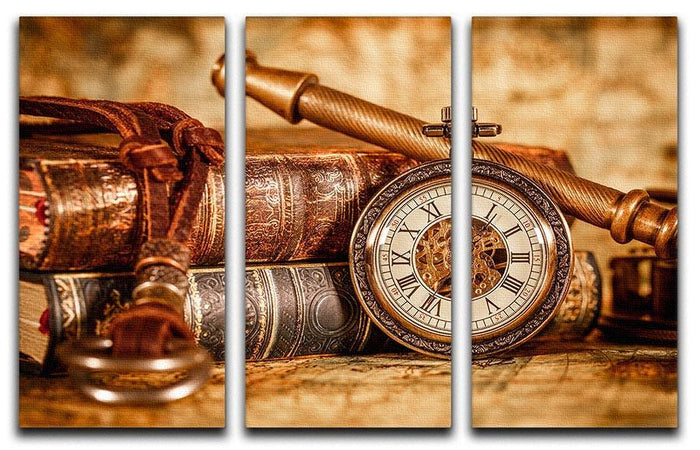 Vintage Antique pocket watch 3 Split Panel Canvas Print