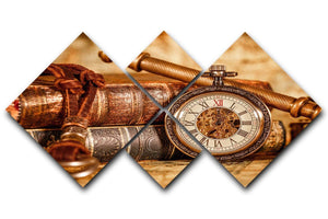 Vintage Antique pocket watch 4 Square Multi Panel Canvas  - Canvas Art Rocks - 1