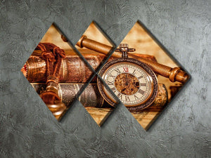 Vintage Antique pocket watch 4 Square Multi Panel Canvas  - Canvas Art Rocks - 2