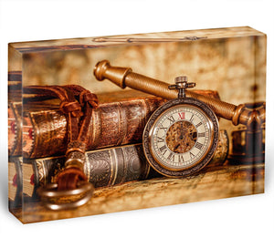Vintage Antique pocket watch Acrylic Block - Canvas Art Rocks - 1