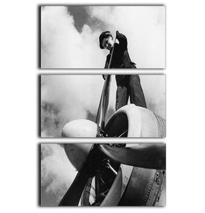 WW2 Oiling the propeller blade 3 Split Panel Canvas Print - Canvas Art Rocks - 1