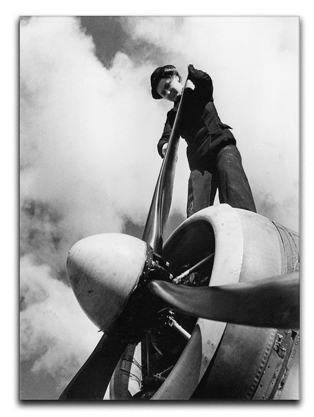 WW2 Oiling the propeller blade Canvas Print or Poster