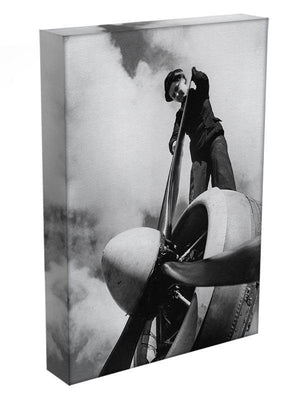 WW2 Oiling the propeller blade Canvas Print or Poster - Canvas Art Rocks - 3
