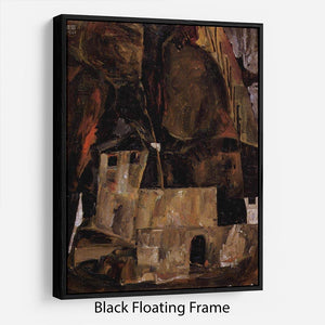 Wall and house and terrain with fence by Egon Schiele Floating Frame Canvas - Canvas Art Rocks - 1