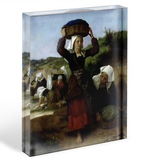 Washerwomen of Fouesnant By Bouguereau Acrylic Block - Canvas Art Rocks - 1