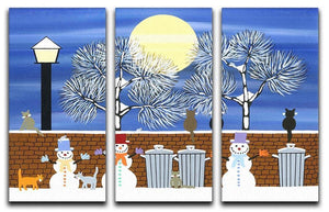Watching the snow moon by Gordon Barker 3 Split Panel Canvas Print - Canvas Art Rocks - 1