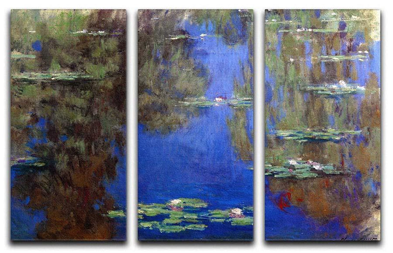 Water Lilies 6 By Manet 3 Split Panel Canvas Print - Canvas Art Rocks - 1