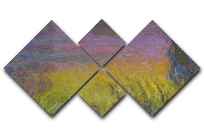 Water Lillies 12 by Monet 4 Square Multi Panel Canvas