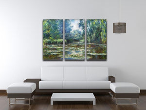 Water Lillies in Monets Garden by Monet Split Panel Canvas Print - Canvas Art Rocks - 4