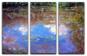 Water Lily Pond 4 by Monet Split Panel Canvas Print - Canvas Art Rocks - 4