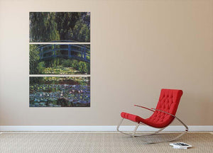 Water Lily Pond 6 by Monet 3 Split Panel Canvas Print - Canvas Art Rocks - 2