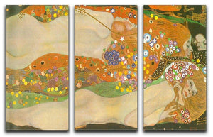 Water snakes friends II by Klimt 3 Split Panel Canvas Print - Canvas Art Rocks - 1