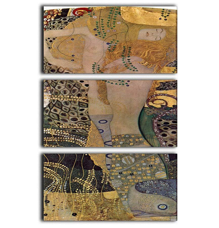 Water snakes friends I by Klimt 3 Split Panel Canvas Print