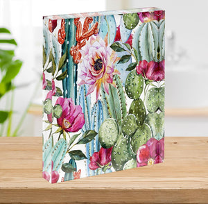 Watercolor cactus pattern Acrylic Block - Canvas Art Rocks - 2