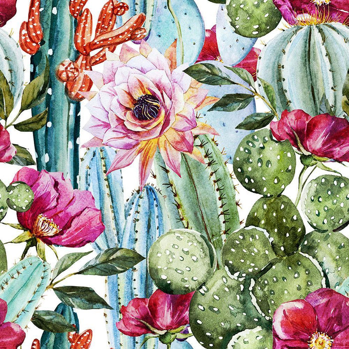 Watercolor cactus pattern Wall Mural Wallpaper