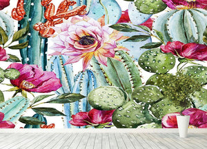 Watercolor cactus pattern Wall Mural Wallpaper - Canvas Art Rocks - 4