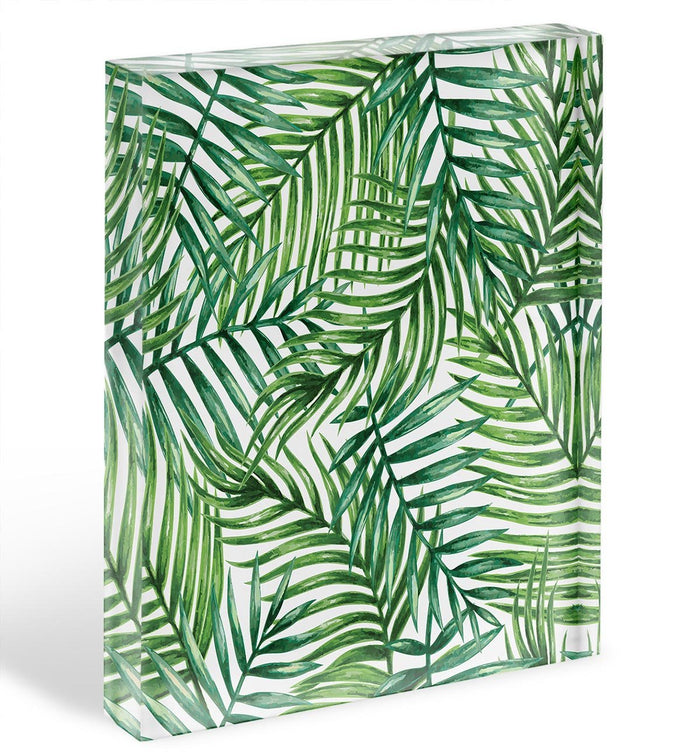 Watercolor tropical palm leaves Acrylic Block