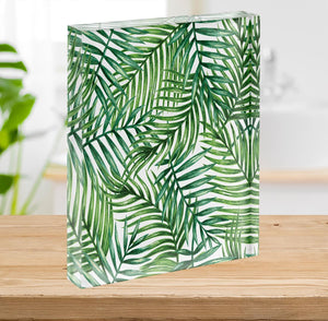 Watercolor tropical palm leaves Acrylic Block - Canvas Art Rocks - 2