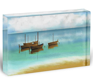 Watercolour Beach Scene Acrylic Block - Canvas Art Rocks - 1