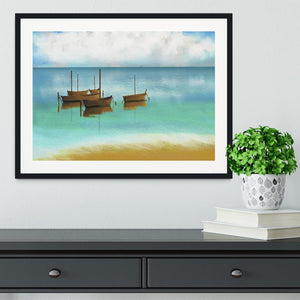 Watercolour Beach Scene Framed Print - Canvas Art Rocks - 1