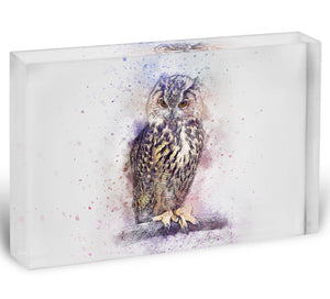 Watercolour Owl Acrylic Block - Canvas Art Rocks - 1