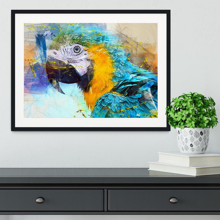 Watercolour Parrot Close Up Framed Print