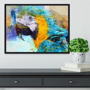 Watercolour Parrot Close Up Framed Print - Canvas Art Rocks - 2