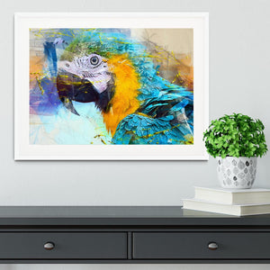 Watercolour Parrot Close Up Framed Print - Canvas Art Rocks - 5
