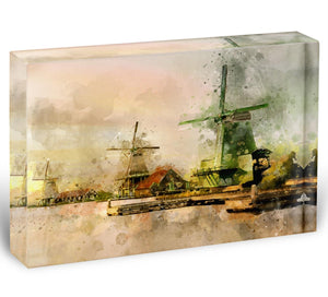 Watercolour Wind Mills Acrylic Block - Canvas Art Rocks - 1