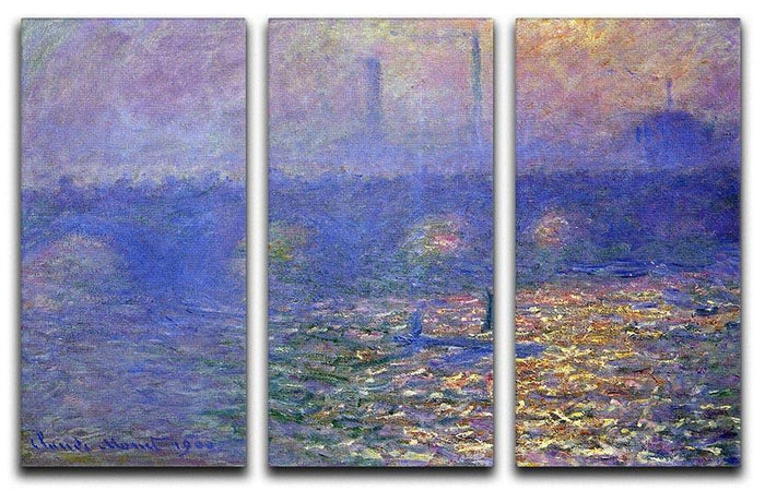 Waterloo Bridge by Monet Split Panel Canvas Print