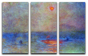 Waterloo Bridge the sun in the fog by Monet Split Panel Canvas Print - Canvas Art Rocks - 4