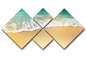 Wave of sea water and sand 4 Square Multi Panel Canvas - Canvas Art Rocks - 1