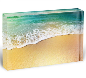Wave of sea water and sand Acrylic Block - Canvas Art Rocks - 1