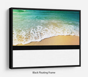 Wave of sea water and sand Floating Frame Canvas - Canvas Art Rocks - 1